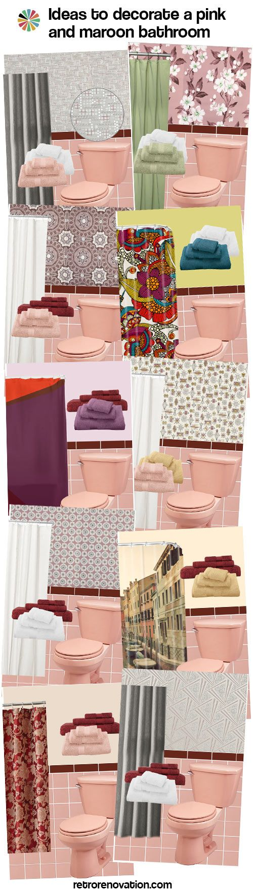 retro pink and maroon bathroom design ideas #midcentury