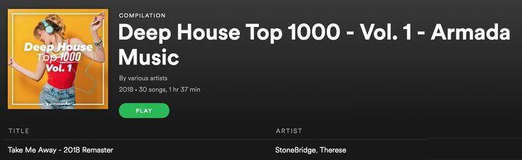 Thank you Armada for the TAKE ME AWAY add in your awesome Deep House Top 1000 Spotify playlist! #stonebridge #therese #takemeaway #stoneyboymusic #armada #spotify #house