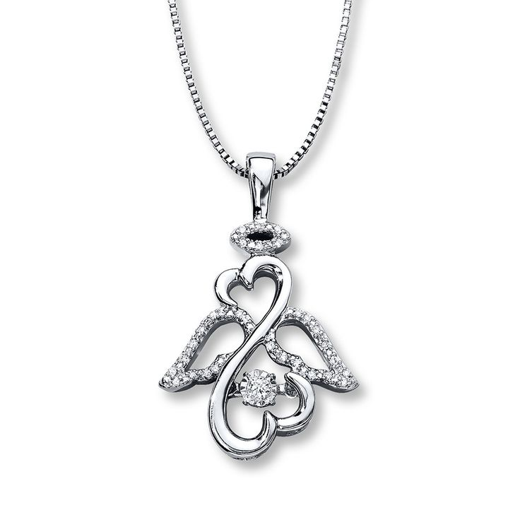 From Open Hearts Rhythm by Jane Seymour™, this pretty necklace for her features the iconic Open Hearts symbol styled as an angel nestling a diamond that shimmers as it moves. More diamonds decorate the halo and wings to complete the look, bringing the total diamond weight to 1/10 carat. The pendant suspends from an 18-inch box chain that fastens with a lobster clasp. Diamond Total Carat Weight may range from .085 - .11 carats.