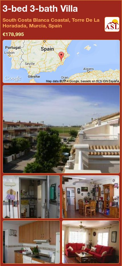3-bed 3-bath Villa in South Costa Blanca   Coastal, Torre De La Horadada, Murcia, Spain ►€178,995 #PropertyForSaleInSpain