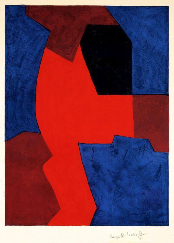 Serge Poliakoff, Composition bleue, rouge et noir, 1969.
