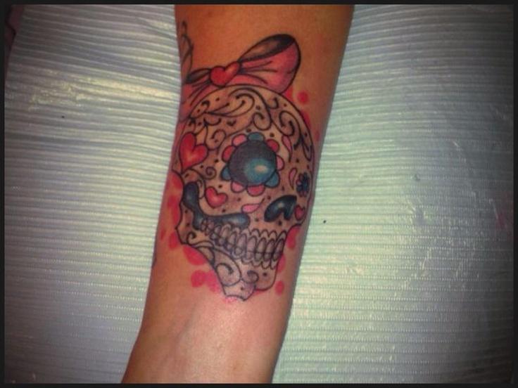 Cute sugar skull done by krystals_tatted instagram