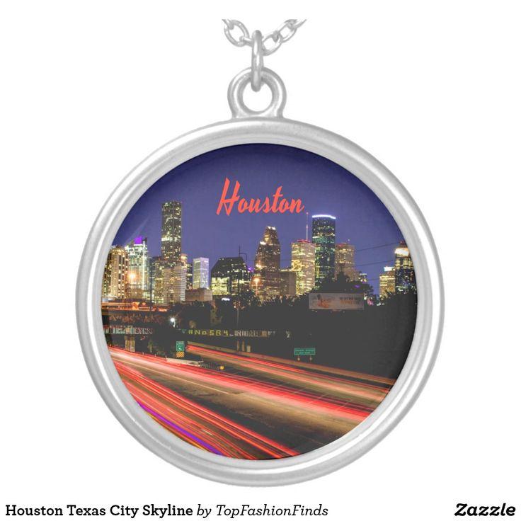 Houston texas city skyline silver plated necklace zazzle