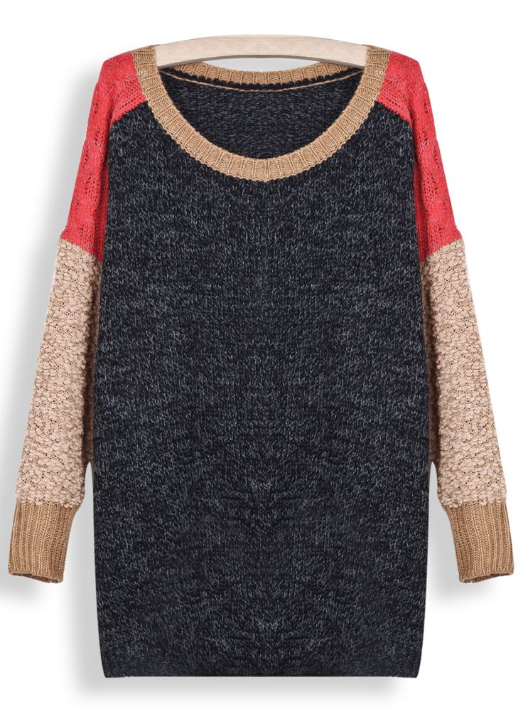 Grey Contrast Shoulder Long Sleeve Loose Sweater LOVE THIS