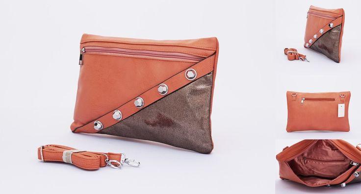 Tas studded cantik. Elegan dengan warna silver motif bawah. Coklat salem. Uk 32x22