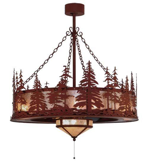 """44""""W Tall Pines W/Fan Light Chandel-Air Fan"""