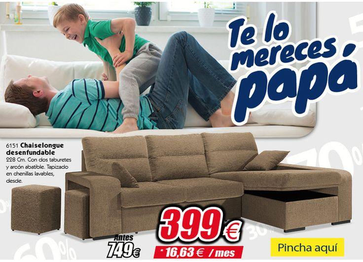 Tu padre 👨👦 se merece un descanso:   Chaiselongue desenfundable por sólo 399€    http://www.ahorrototal.com/es/chaiselongue/31198-chaiselongue-barato-diseno-actual-turron-228-cm.html    Sofá Chaiselongue con 2 taburetes y arcón abatible. Tapizado en chenillas lavables.  #diadelpadre #chollo #ahorraonunca