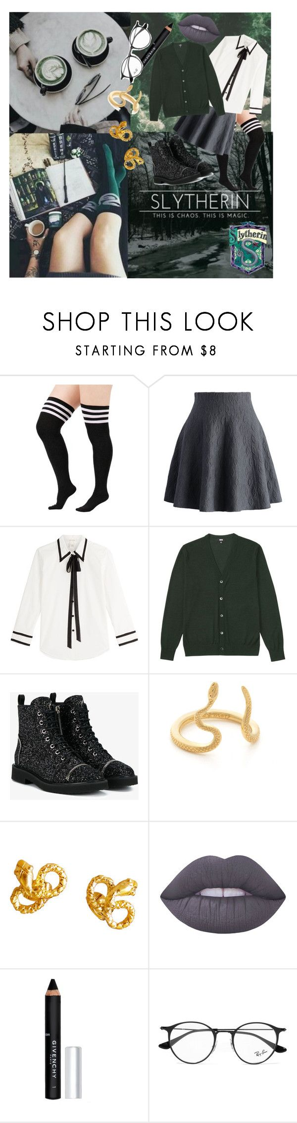 """""""Slytherin """" by chilcotea201 ❤ liked on Polyvore featuring Chicwish, Marc Jacobs, Uniqlo, Giuseppe Zanotti, Nora Kogan, Lime Crime, Givenchy and Ray-Ban"""