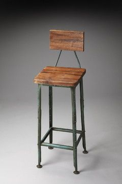 Metalworks Bar Stool with Wooden Seat and Back - rustic - bar stools and counter stools - new york - Dexter Sykes