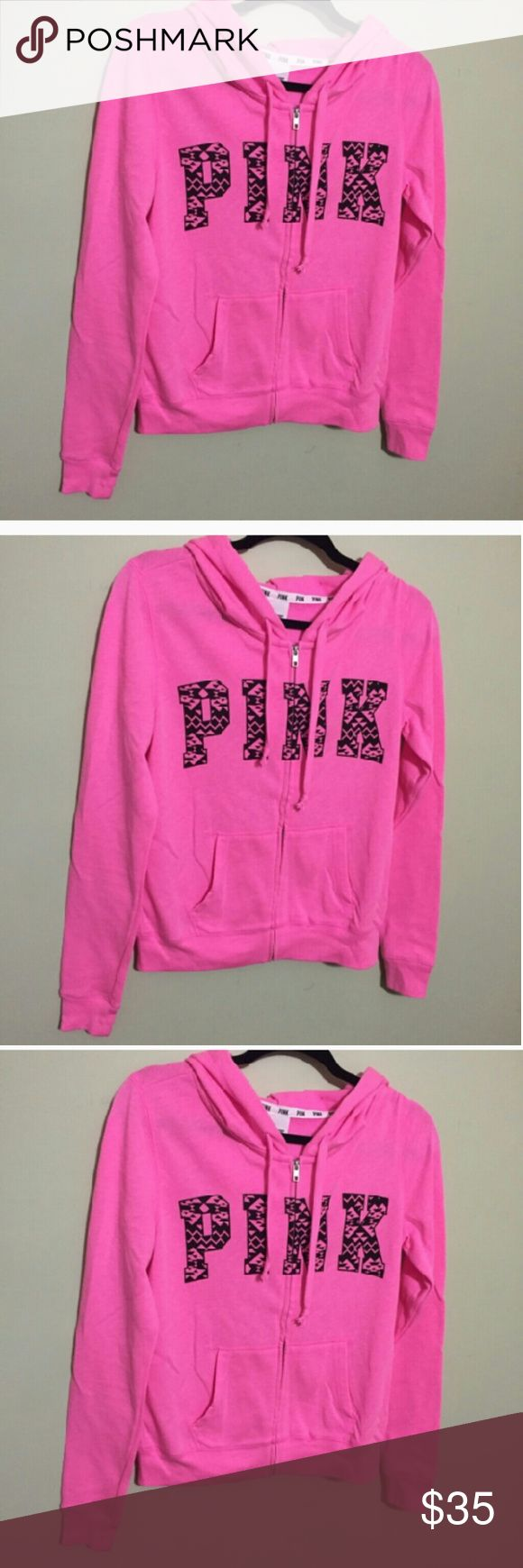 NWOT Victoria secret pink Aztec zip up hoodie NWOT beautiful brand new Victoria secret Aztec zip up hoodie size small women's, pink logo design on front of sweater in black Aztec letters. Never worn!New!Selling this designer brand for a great price!New! Victoria secret  Sweaters