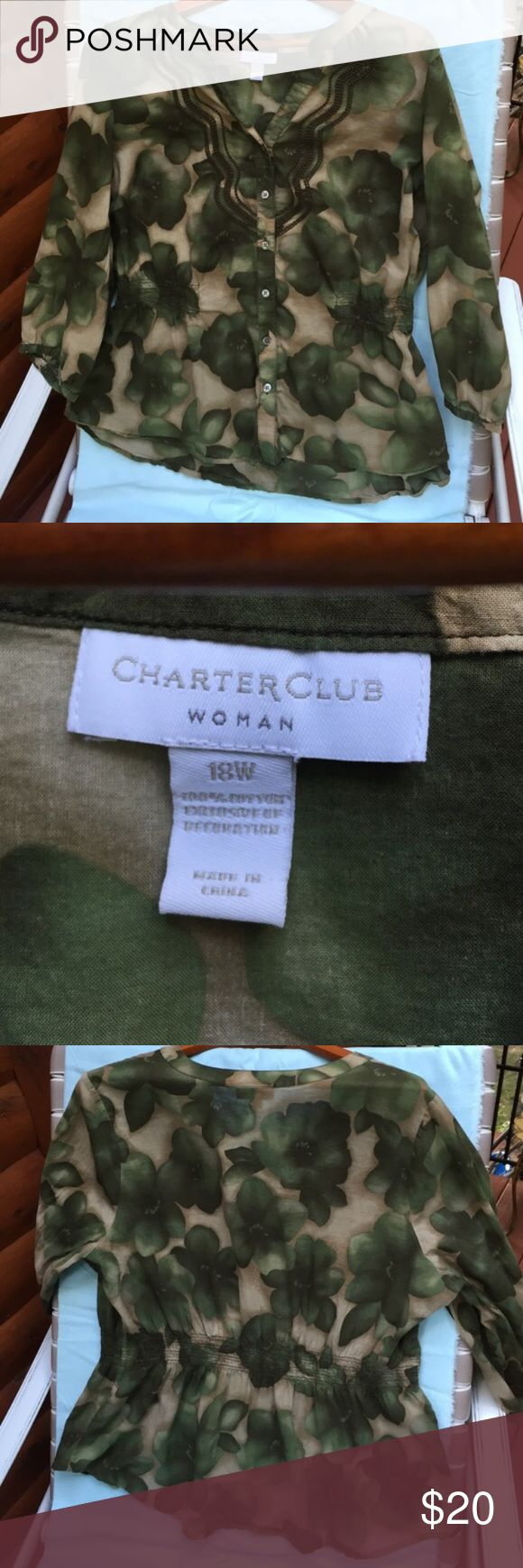 Gathered waist smock green beige and black Green four leave clovers with black tint and beige background. Gathered at waist with elbow length sleeves. Never worn; like new Charter Club Tops Blouses