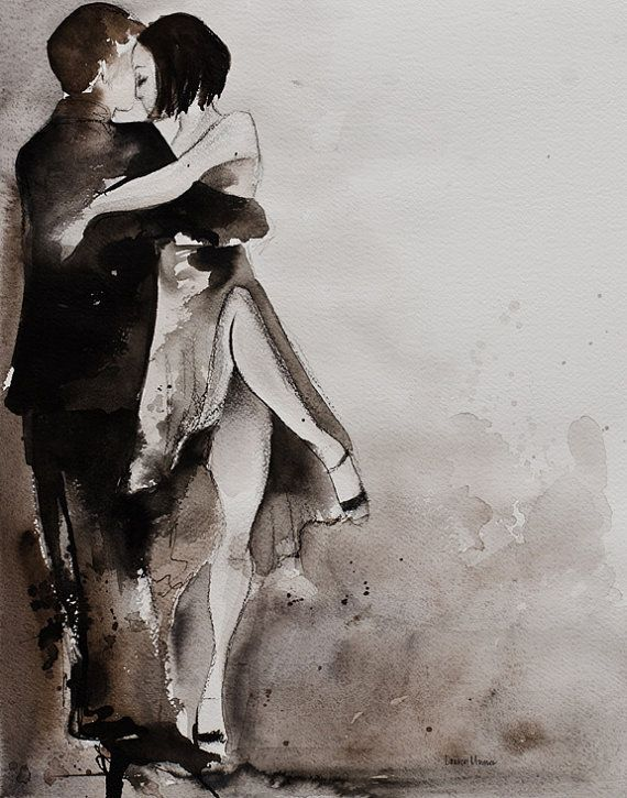 Tango Art Painting - Print- Watercolor and Charcoal -  Untitled Tango 4- 8x10- Lauren Maurer Artworks on Etsy