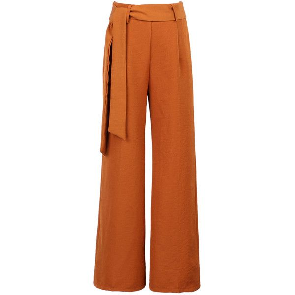 Brown Tie Waist Wide Leg Cropped Palazzo Pants ($24) ❤ liked on Polyvore featuring pants, capris, wide-leg pants, brown trousers, brown pants, zip pants and palazzo pants