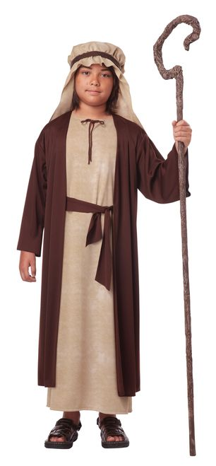 Saint Joseph Christmas Nativity Costume - Celebrate the Nativity this Christmas season with this fantastic Children's Saint Joseph costume. This Kids Saint Joseph costume includes a robe with attached coat and a matching headpiece. The robe is a beige colour and the attached coat is a dark brown. The headpiece has an Arabian style and is made of the matching beige fabric with a brown band around it. This is a wonderful costume for a Joseph in a Nativity play. #yyc #calgary #costume #nativity