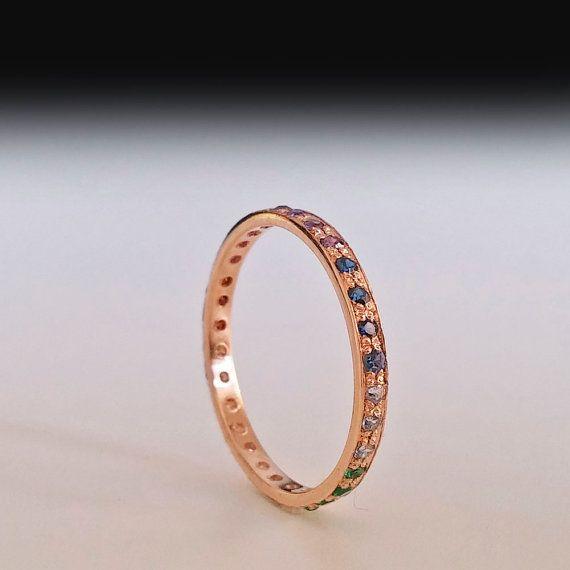 Red gold Eternity ring  Rose gold eternity ring  Rainbow by ARDONN