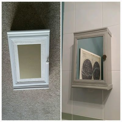 This cabinet was actually already in my bathroom when I moved into my house. It was a cheap and basic mirrored wall cabinet - essentially just a white plastic box with a mirror slid in the front! It w