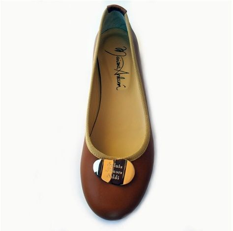 'Love, Health, Money' Made in Italy flats, real leather, real leather lining, with gold colored plaque engraved with sentence: 'Amore, Salute, Soldi' (Love, Health, Money), leather sole, heel height approximately 11 mm