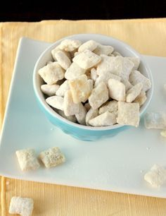 Lemon Puppy Chow - Needed a little extra white chocolate and butter. The original recipe didn't quite coat the chex.