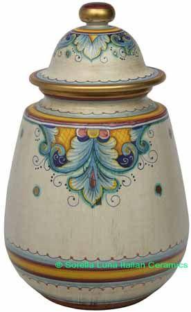 Ceramic Majolica Jar Covered Deruta Ricco Oro Gold     #TuscanyAgriturismoGiratola
