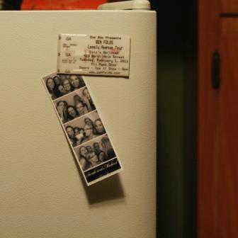 Old ticket stubs as fridge magnet, cute idea!