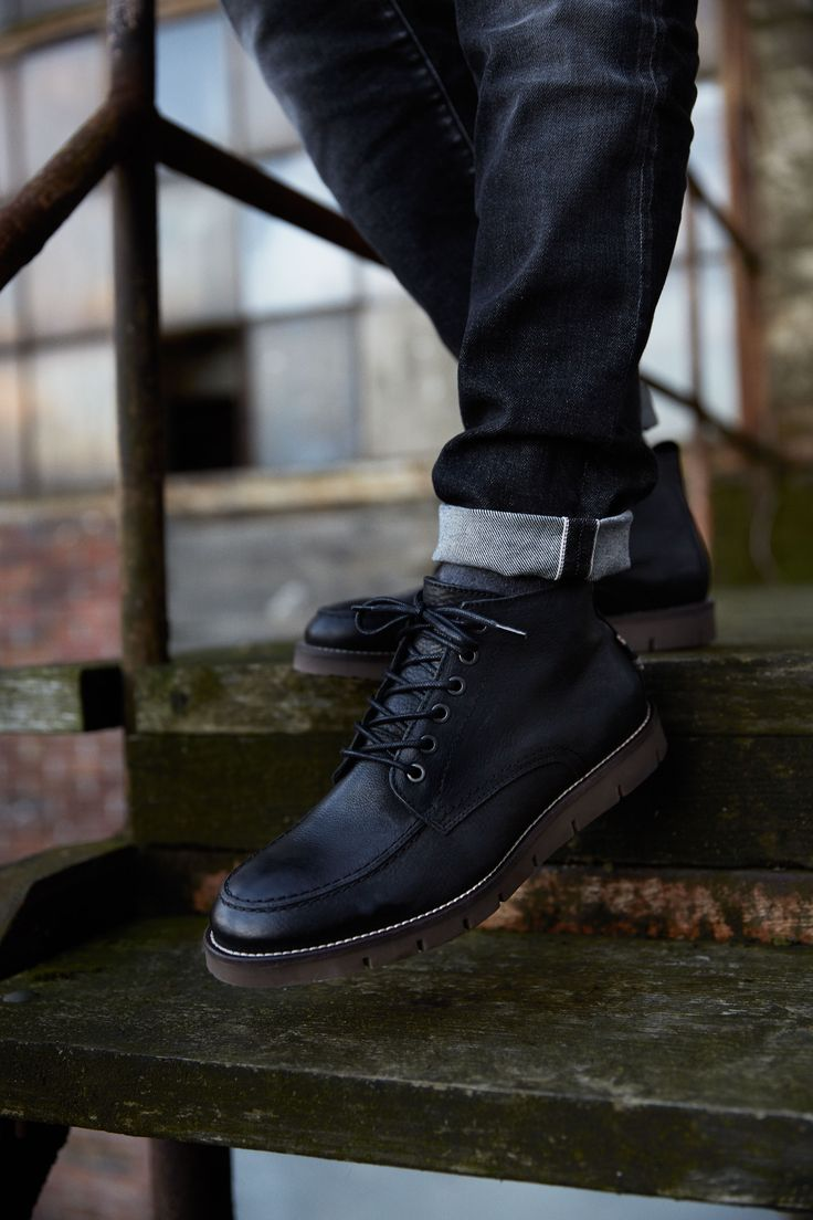 Easy to style black laced up shoes with rubber sole, styled with dark denim #black #menshoes #style