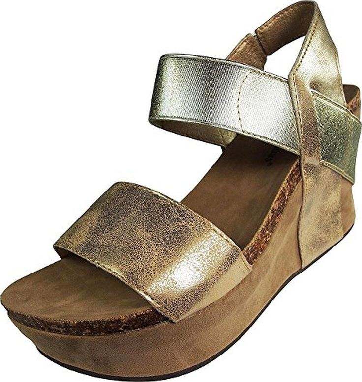 Pierre Dumas Hester-1 Women's Wedge Sandal, Gold, 7.5 B(M) US - Brought to you by Avarsha.com