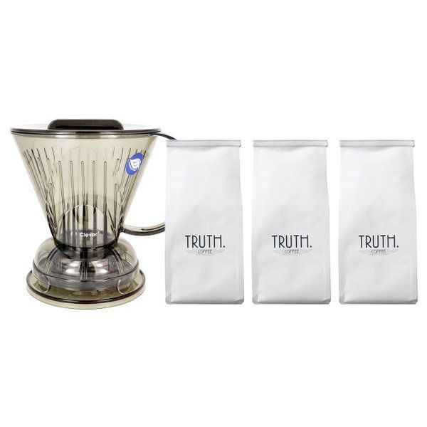 Buy This Truly Clever Bundle to enjoy full-bodied sediment-free cups of coffee quickly and easily, including 3 bags of Truth coffee & a Clever Dripper