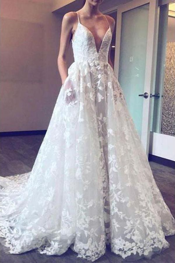 f066e08657a89 Fabulous Lace Applique Ball Gown Deep V Neck Wedding Dresses with Pocket,  SW147