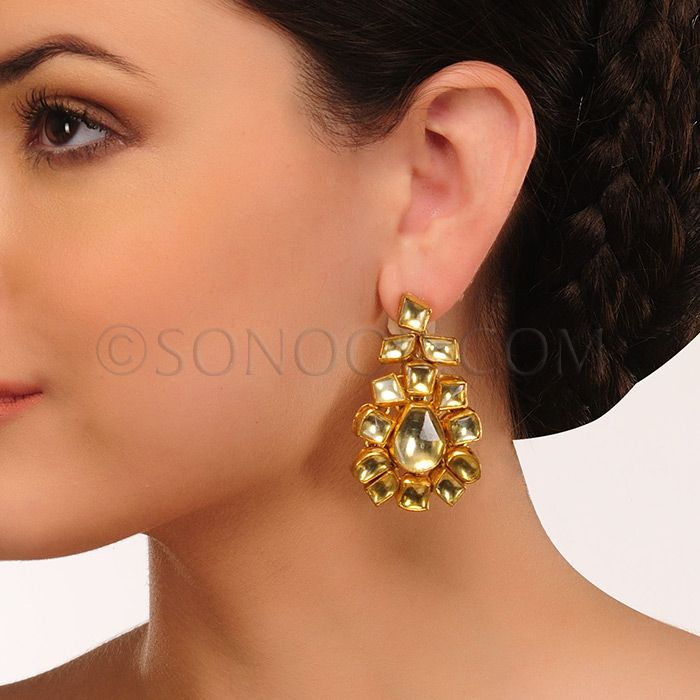 EAR/1/3436 Earrings in dull gold finish studded with kundan stones	 $78 £46