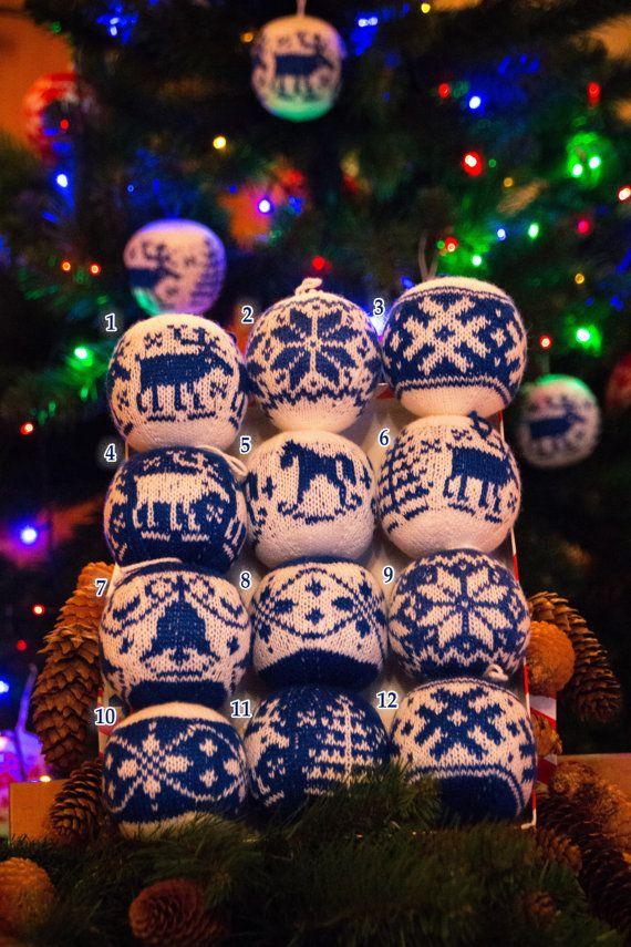 SET di 6 palle di Natale blu maglia natale regalo di Russianlaces