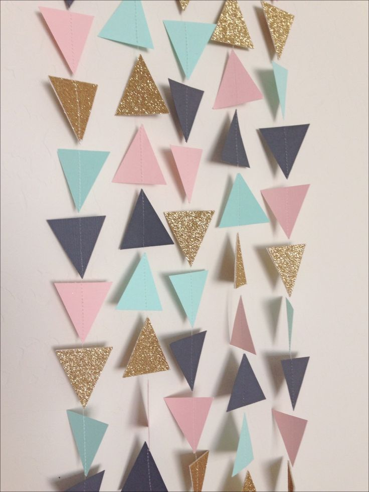 Mint, Light Pink, Charcoal Grey & Gold Triangle Garland. Geometric Garland. Garland Photo Prop. Garland Backdrop. Wedding Garland. by LaCremeBoutique on Etsy https://www.etsy.com/listing/245250259/mint-light-pink-charcoal-grey-gold