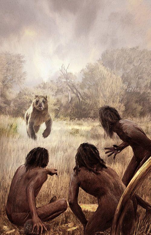 Homo erectus and Arctodus in North America by Velizar Simeonovski