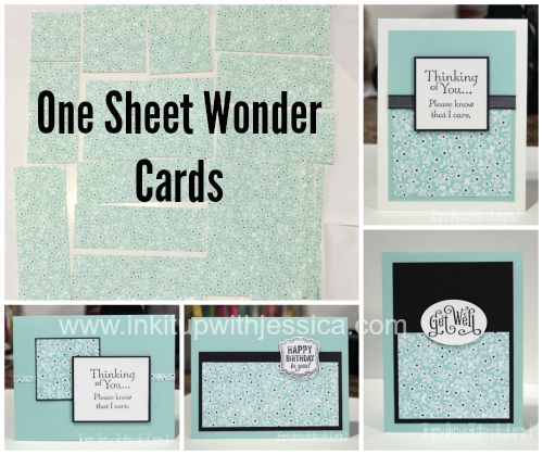 One Sheet Wonder Cards with Sweet Sorbet paper: Thinking of You cards, Birthday Card, Get Well Card