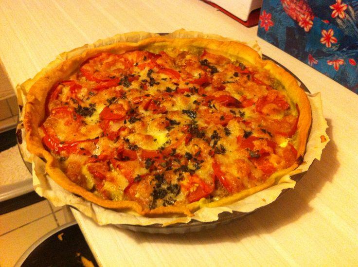 Tarte feta tomate pesto - recette marmiton
