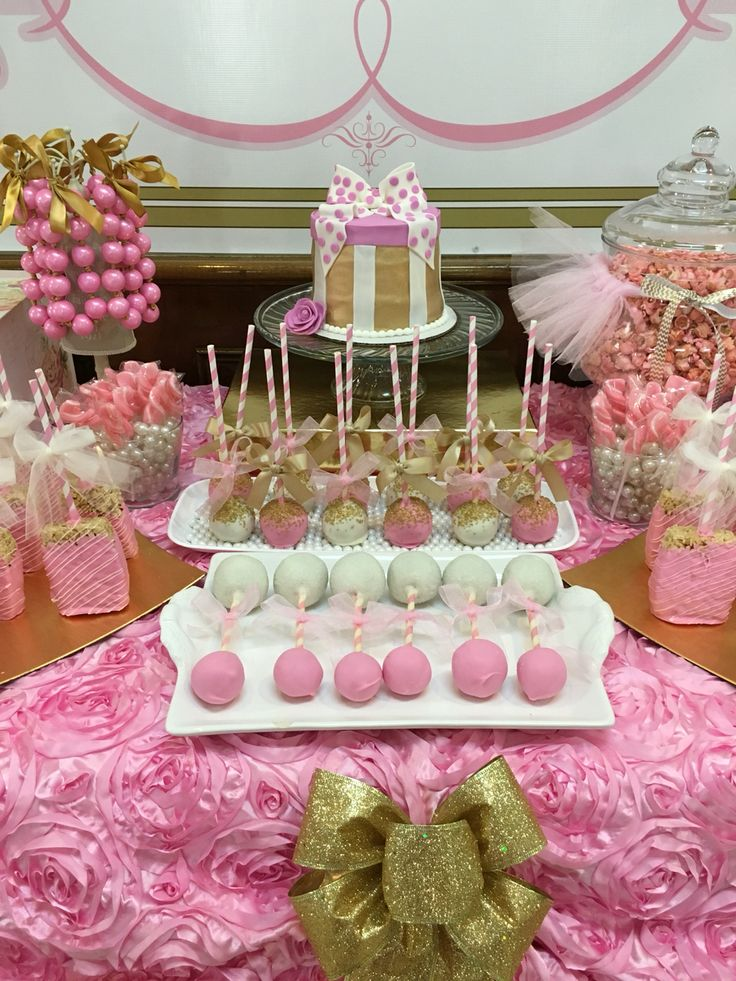 Pink & Gold cake pops  Pink & white baby rattle cake pops Pink & Gold Glitter & Pearls Baby shower