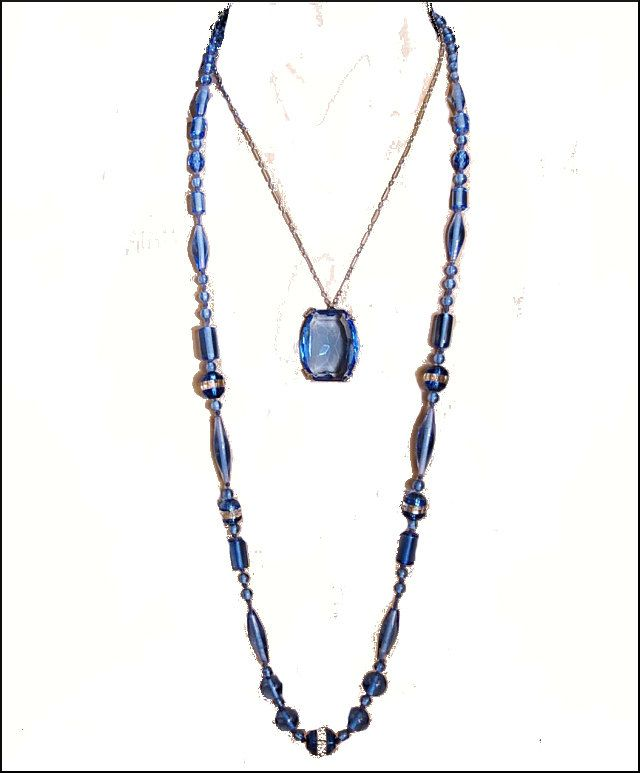 Art Deco Necklace Glass Bead Crystal Art Deco Jewelry Blue Hand Knotted Vintage 1920s Jewelry.