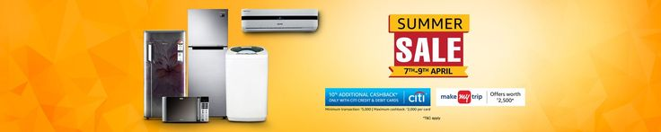 #Amazon Great Indian Summer #Sale 7 - 9 April  Amazon Is Back Again With #SummerSale. Amazon Is Offering #BigDiscount On TV, #AC, Refrigerators. Users Can Avail Up to 90% Off On #Electronics Products & Also Get Extra 10% #Cashback Via Citi Bank Debit And Credit Cards Payment.
