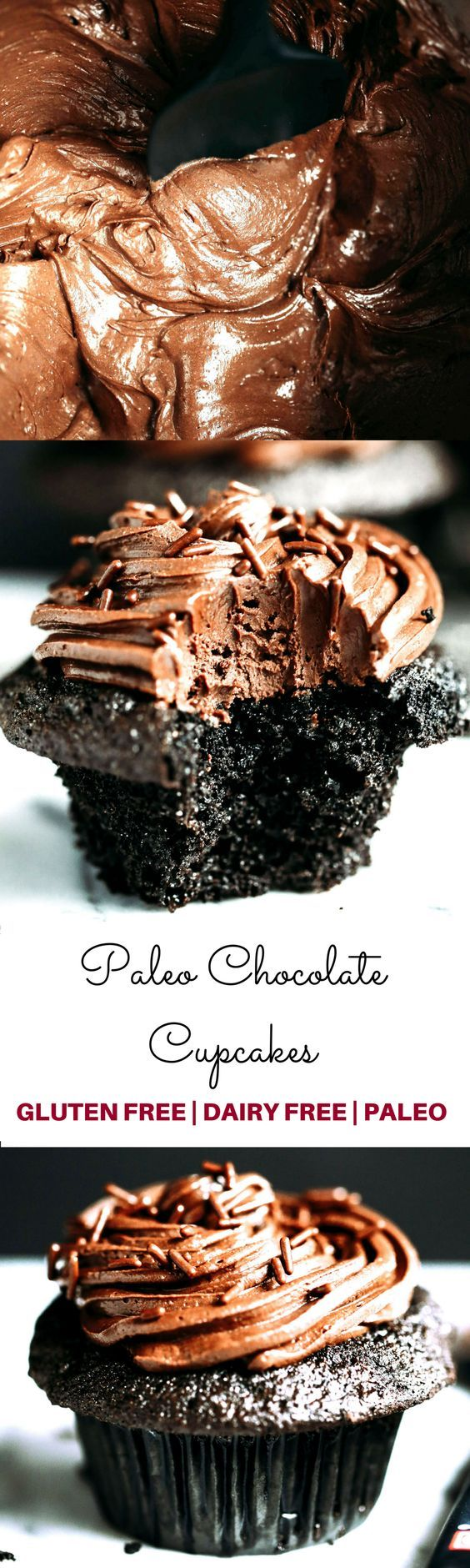 PALEO CHOCOLATE CUPCAKES-Moist, but not eggy! These paleo cupcakes have a rich, dark chocolate taste and are covered in a whipped dairy free refined sugar free chocolate frosting! Coconut flour cupcakes. Best easy Paleo cupcakes.