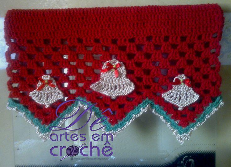 Natal Decoração - Jogo de Capa para Fogão 4 bocas + 01 Natal Decoração - Puxador em crochê. Com tema Natalino, by Dê Artes em Crochê. http://www.elo7.com.br/capa-para-fogao-em-croche-natal/dp/58C209