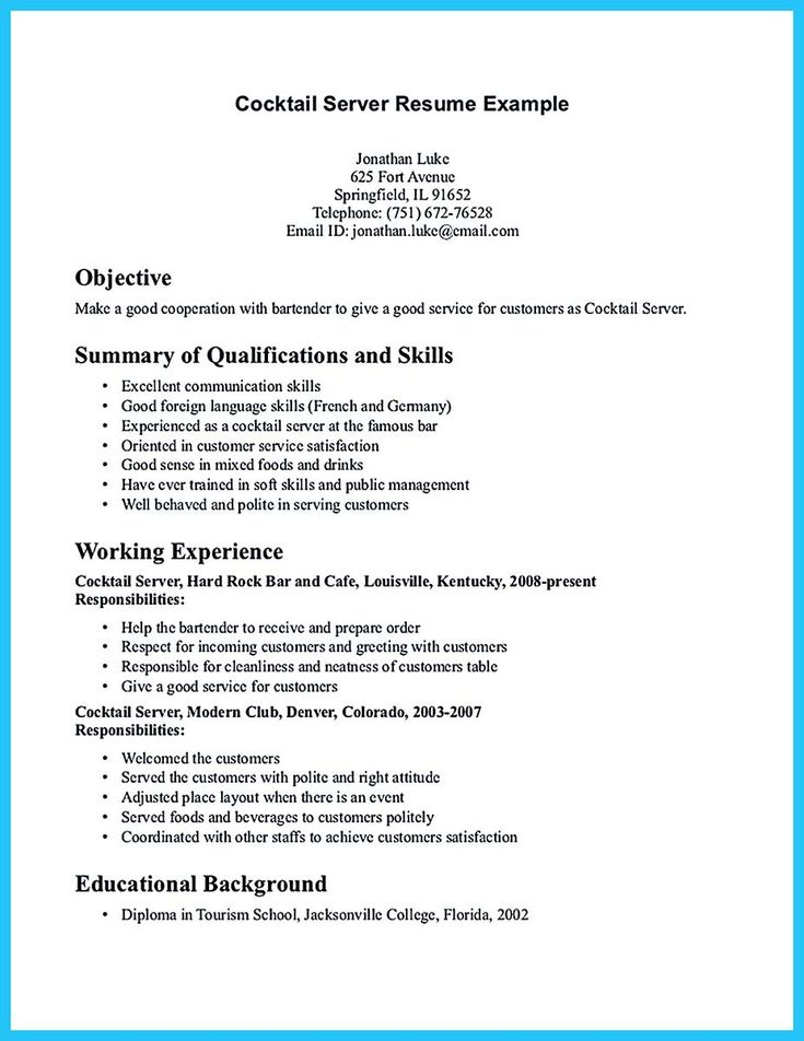 Cocktail Waitress Resume Your Catering Manager Resume Must Be Impressiveto Make