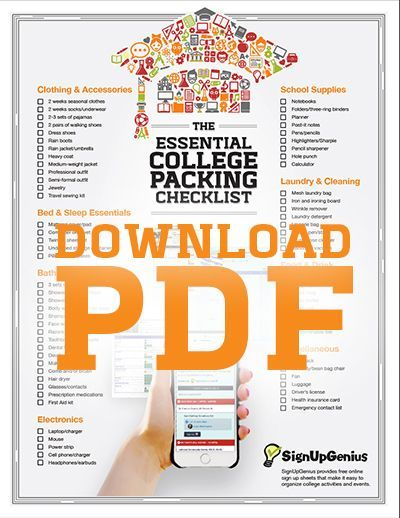 Download the printable Essential College Packing List. Don't forget any dorm essentials.
