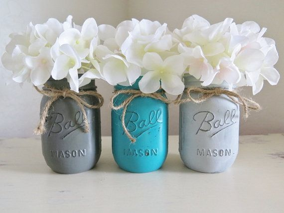 Distressed Mason Jars Painted Mason Jars Mason Jar Vases Teal And Gray Country Decor Teal Bathroom Decor Teal Kitchen Decor Ball Jars