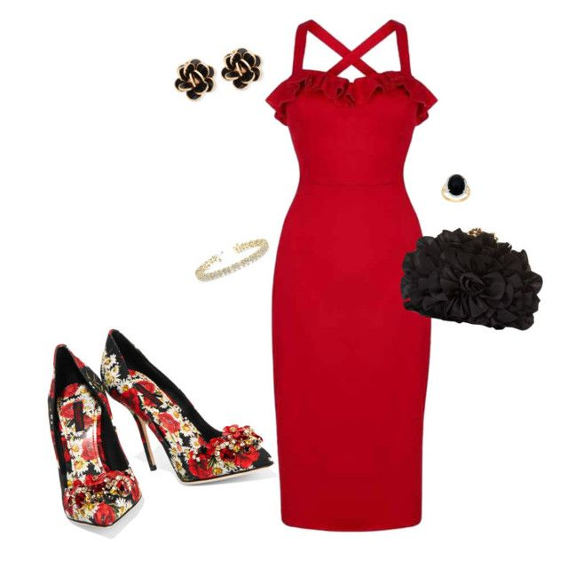 """""""Red hot night out!!!!"""" by sdmack ❤ liked on Polyvore featuring Dolce&Gabbana, Collectif, Franchi, Chantecler and Allurez"""