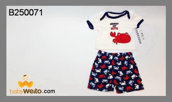 B250071  Baju Setelan Boy Crab  Bahan halus dan lembut  Warna sesuai gambar  IDR 100*