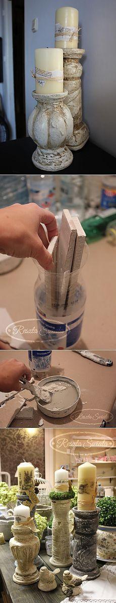 Винтажные гипсовые подсвечники из пластиковых бутылок. Мастер-класс.