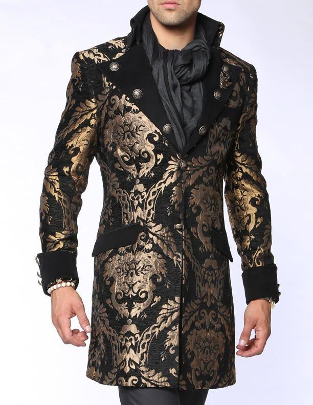 3009b40ba Men's Fashion Coat Long Coat Napoleon Black in 2019 | Vintage Style ...