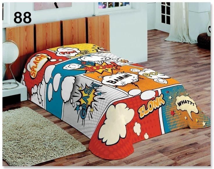 Nowoczesny kolorowy koc do sypialni z napisami