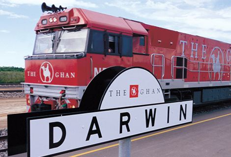 The Ghan arriving at Darwin Rail Station, Northern Territory, Australia