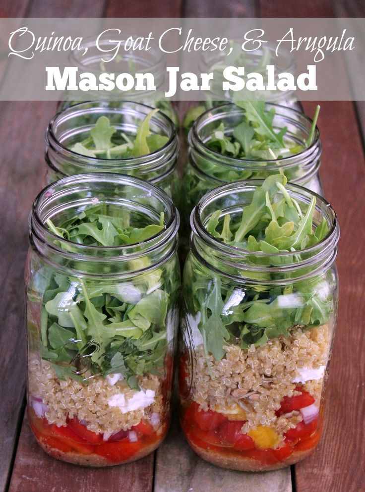 Quinoa, Goat Cheese, and Arugula Mason Jar Salad Recipe 336 calories and 9 weight watchers points plus