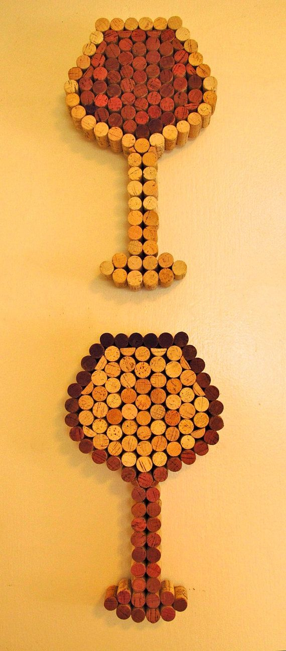 wine cork wall art - just hot glue wine corks in the shape of wine glasses. cute for kitchen.
